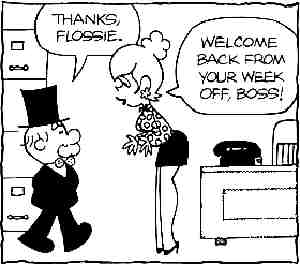 Mr. Abernathy and his secretary, Flossie. Artist: Frank Ridgeway.