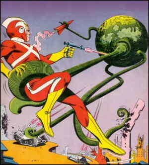 Adam Strange versus a typical menace. Artist: Carmine Infantino.