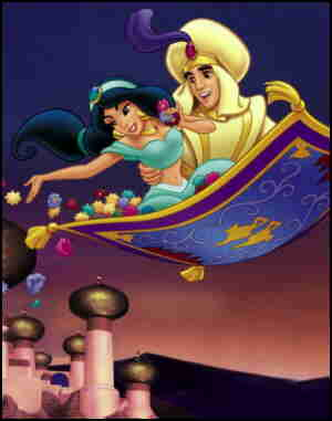 Jasmine and Aladdin, aboard a Genie-supplied carpet.