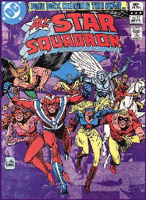 Just a few members of The All-Star Squadron. Artist: Joe Kubert.