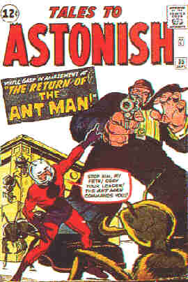 Cover of Ant Man's first appearance in costume. Artist: Jack Kirby.