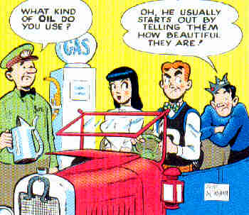 Archie, Veronica and Jughead. From a 1952 comic book cover. Artist: Bob Montana.