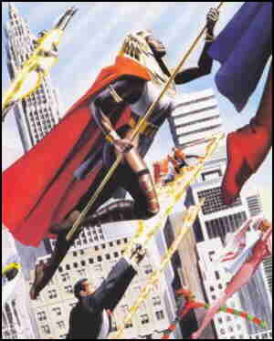 A few of the heroes of Astro City. Artist: Alex Ross.