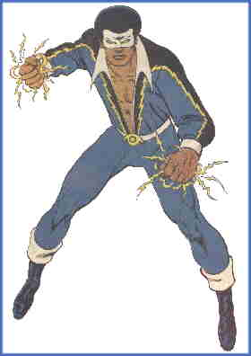 Black Lightning in heroic pose. Artist: Jim Aparo.