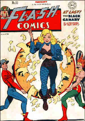 The Black Canary's only 'Flash Comics' cover appearance. Artist: Lee Elias.