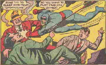 The Blue Beetle socks it to 'em in a 1945 issue. Artist: Charles Nicholas.