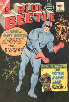 The Blue Beetle battles another bug guy, from the cover of a 1966 issue. Artist: Tony Tallarico.
