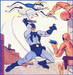The Blue Beetle socks it to some bad guys. Artist: Steve Ditko.