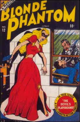 The Blonde Phantom lurks on a ledge. Artists: Syd Shores and Al Gabrielle.
