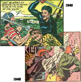 Two views: One early and one late in The Black Pirate's comic book career.