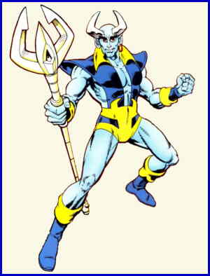 Blue Devil with trident. Artist: Paris Cullins.