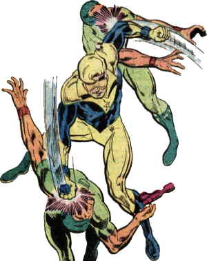 Booster Gold beats up a couple of bad guys. Artist: Dan Jurgens.