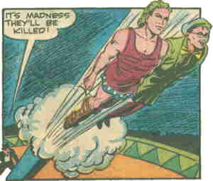 The Bouncer and Anteas Jr. catapult into battle. Artist: Louis Ferstadt.