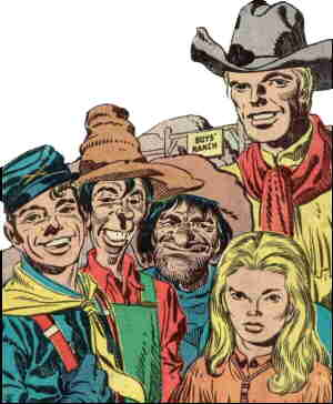 Short guys, l-r: Dandy, Wabash, Wee Willie Weehawken, Angel. Towering over: Clay Duncan. Artists: Joe Simon and Jack Kirby.