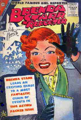 A 1955 Brenda Starr comic book cover. Artist: Dale Messick.