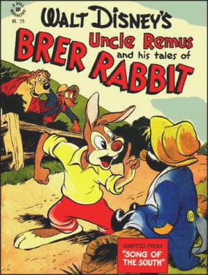 Brer Rabbit confronts The Tar Baby while Brer Fox and Brer Bear look on.