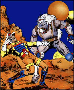 Bravestarr and Thirty-thirty, from a comic book cover.