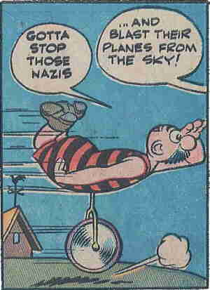 Burp sprouts an appendage for Nazi hunting. Artist: Jack Cole.
