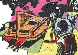 Space Cabby pulls up to pick up a fare.
