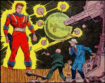 Captain Comet looms over bad guys. Artist: Carmine Infantino.