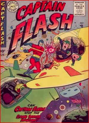 Captain Flash bashing aliens; Ricky flying spacecraft. Artist: Mike Sekowsky.