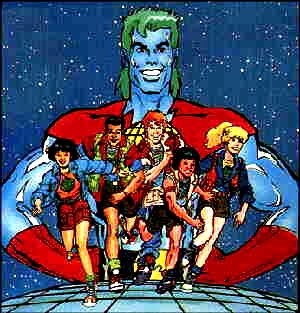 From the cover of the first Captain Planet etc. comic book. Artist: Neal Adams.