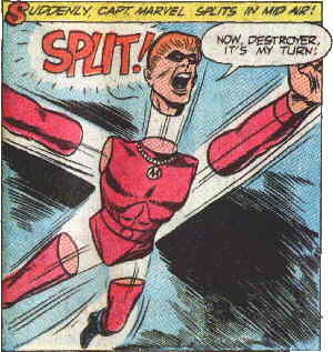 Captain Marvel demonstrates his super power.
