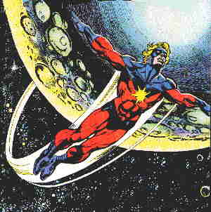 Captain Marvel, looking typically cosmic. Artist: Gil Kane.