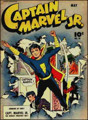 A typical Captain Marvel Jr. cover. Artist: Mac Raboy.