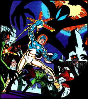 Captain Universe vs. nameless hordes of something or other. Artist: Steve Ditko.
