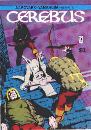 Cerebus the Aardvark skewers the opposition. Artist: Dave Sim.
