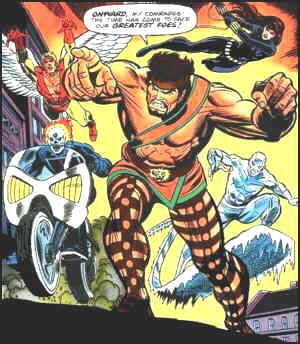 Clockwise from upper right: The Black Widow, Iceman, Ghost Rider, Angel. Center: Hercules. Artists: Gil Kane and Dan Adkins.