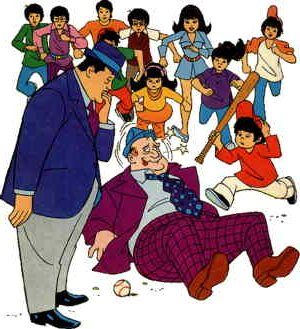 The Chan Clan -- all of 'em -- close in on a villain. Artist: Warren Tufts.