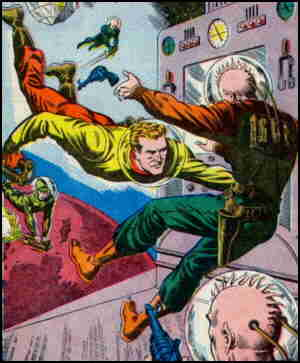 Two-fisted explorer Chris KL-99 socks it to a bad guy. Artist: Murphy Anderson.