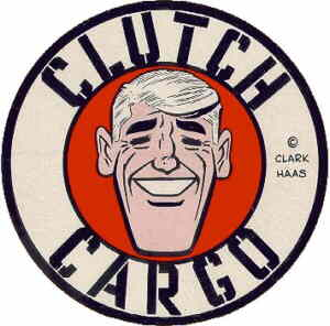 A Clutch Cargo promotional sticker.