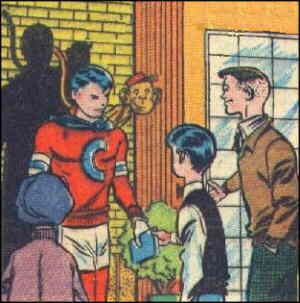 C.B. chats with some kids a little younger than himself. Artist: Norman Maurer.