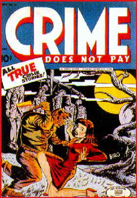 Crime Does Not Pay: A 1943 cover by Charles Biro.