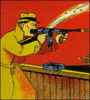 Dan Dunn in action, from a comic book cover. Artist: Norman Marsh.