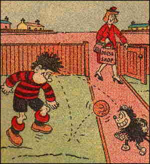 Dennis the Menace, playing with Gnasher.