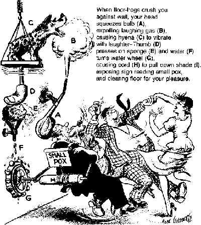 A Rube Goldberg device. Artist: Rube Goldberg.
