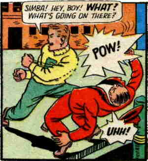 Dick calls to his friend and sidekick during a fistfight. Artist: Al Fagaly.
