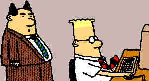 Dilbert and his pointy-haired boss. Artist: Scott Adams.