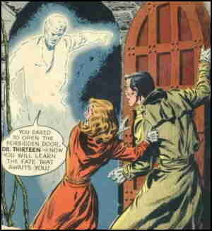 Dr. Thirteen, face-to-face with what he doesn't believe in. Artist: Leonard Starr.