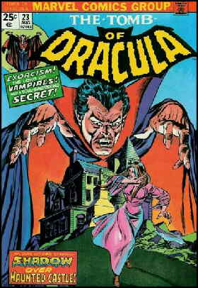 Dracula looms over a gothic scene. Artists: Gil Kane and Tom Palmer.