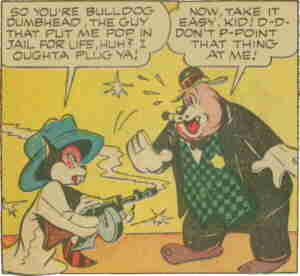 Bulldog and Oliver meet in Funny Stuff #1. Artist: Ron Santi.