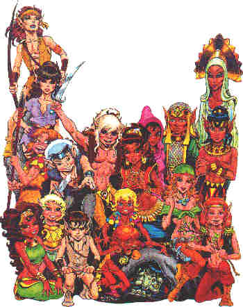 A few characters from the first Elfquest series. Artist: Wendy Pini.