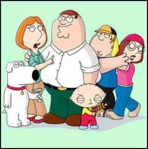 The Griffin family. L-r; Brian, Lois, Peter, Stewie, Chris, Meg.