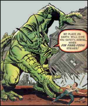 Fin Fang Foom menaces a human on his first cover. Artist: Jack Kirby.