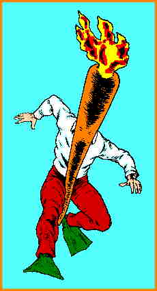 A Flaming Carrot action pose. Artist: Bob Burden.
