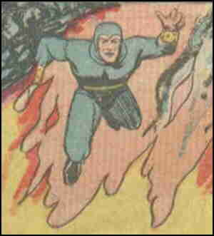Fireball cuts loose with his super powers. Artist: Paul Reinman.